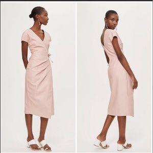 Topshop Faux Leather Blush Wrap Midi Dress